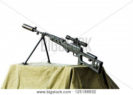 Charged sniper rifle isolated on white background