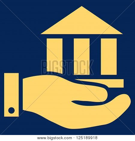 Bank Service vector icon. Bank Service icon symbol. Bank Service icon image. Bank Service icon picture. Bank Service pictogram. Flat yellow bank service icon. Isolated bank service icon graphic.