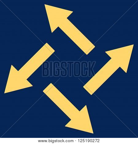 Centrifugal Arrows vector icon. Centrifugal Arrows icon symbol. Centrifugal Arrows icon image. Centrifugal Arrows icon picture. Centrifugal Arrows pictogram. Flat yellow centrifugal arrows icon.