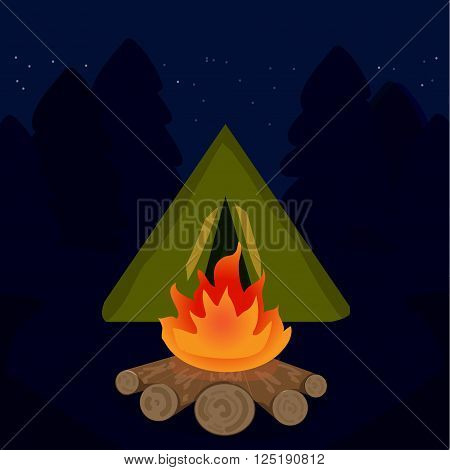 The camp campfire at travel night. vector illustration