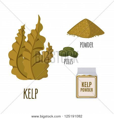 Superfood kelp set in flat style: algae, powder, pills. Organic healthy food. Isolated objects on white background. Vector illustration