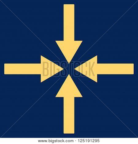 Impact Arrows vector icon. Impact Arrows icon symbol. Impact Arrows icon image. Impact Arrows icon picture. Impact Arrows pictogram. Flat yellow impact arrows icon.