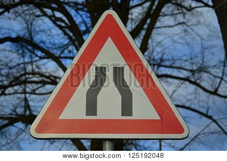 traffic sign, constricted road, South Bohemia, Czech Republic