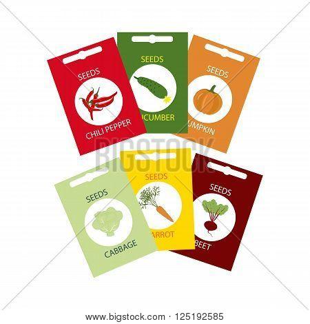 Vegetable Seeds Icon. Carrot. Cabbage. Cucumber. Pumpkin. Beet. Pepper. Vector illustration