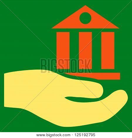 Bank Service vector icon. Bank Service icon symbol. Bank Service icon image. Bank Service icon picture. Bank Service pictogram. Flat orange and yellow bank service icon.