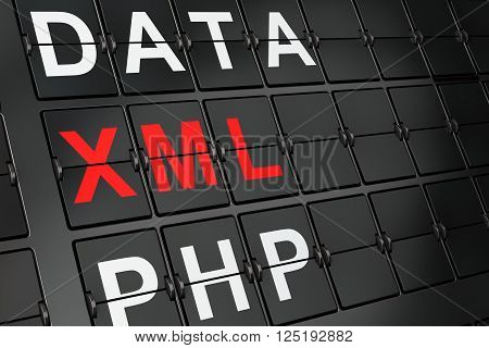 Software concept: Xml on airport board background