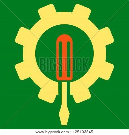 Engineering vector icon. Engineering icon symbol. Engineering icon image. Engineering icon picture. Engineering pictogram. Flat orange and yellow engineering icon. Isolated engineering icon graphic.