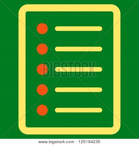 List Page vector icon. List Page icon symbol. List Page icon image. List Page icon picture. List Page pictogram. Flat orange and yellow list page icon. Isolated list page icon graphic.