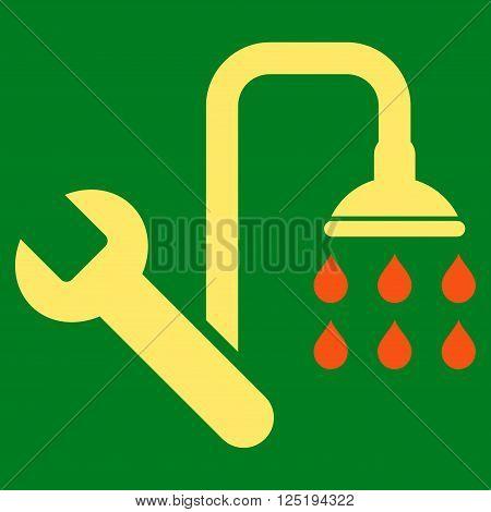 Plumbing vector icon. Plumbing icon symbol. Plumbing icon image. Plumbing icon picture. Plumbing pictogram. Flat orange and yellow plumbing icon. Isolated plumbing icon graphic.