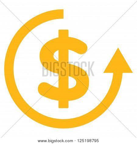 Refund vector icon. Refund icon symbol. Refund icon image. Refund icon picture. Refund pictogram. Flat yellow refund icon. Isolated refund icon graphic. Refund icon illustration.