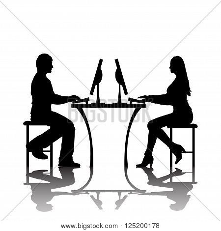 man and woman silhouettes are chating with computers