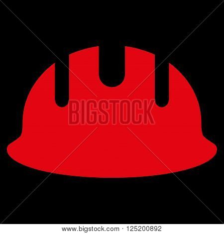 Builder Hardhat vector icon. Builder Hardhat icon symbol. Builder Hardhat icon image. Builder Hardhat icon picture. Builder Hardhat pictogram. Flat red builder hardhat icon.