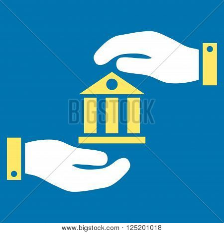 Bank Service vector icon. Bank Service icon symbol. Bank Service icon image. Bank Service icon picture. Bank Service pictogram. Flat yellow and white bank service icon.
