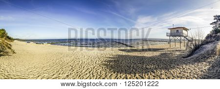 beach landscape with lifeguard hut in Zempin, Usedom