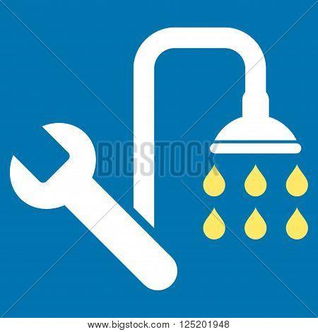 Plumbing vector icon. Plumbing icon symbol. Plumbing icon image. Plumbing icon picture. Plumbing pictogram. Flat yellow and white plumbing icon. Isolated plumbing icon graphic.