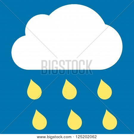 Rain Cloud vector icon. Rain Cloud icon symbol. Rain Cloud icon image. Rain Cloud icon picture. Rain Cloud pictogram. Flat yellow and white rain cloud icon. Isolated rain cloud icon graphic.
