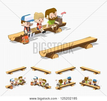 Rough wooden bench. 3D lowpoly isometric vector illustration. The set of objects isolated against the white background and shown from different sides