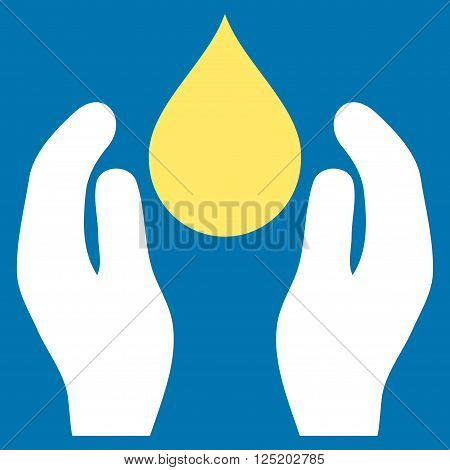 Water Care vector icon. Water Care icon symbol. Water Care icon image. Water Care icon picture. Water Care pictogram. Flat yellow and white water care icon. Isolated water care icon graphic.