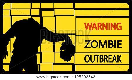 illustration of zombie man silhouette with head on yellow background