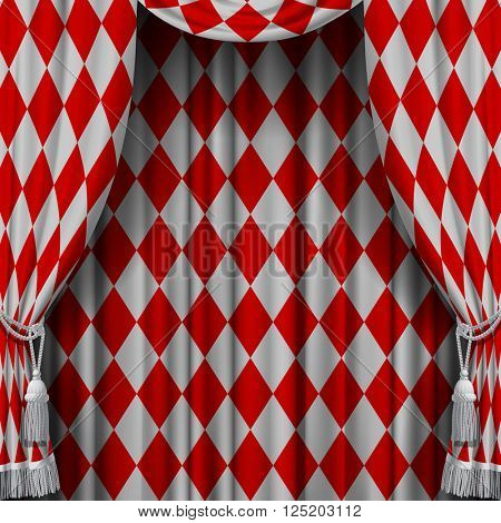 Red and white vintage rhomboids background. Square presentation artistic poster and placard.