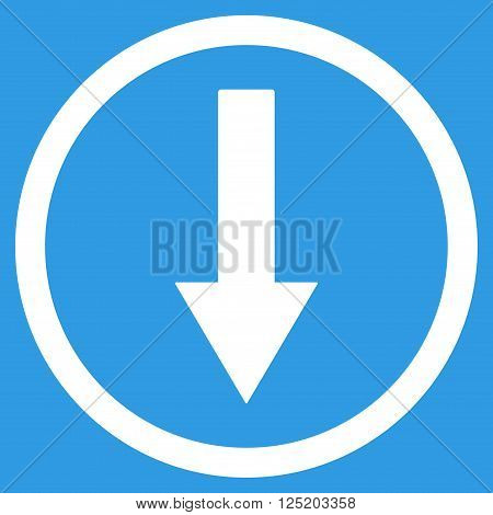 Down Rownded Arrow vector icon. Down Rownded Arrow icon symbol. Down Rownded Arrow icon image. Down Rownded Arrow icon picture. Down Rownded Arrow pictogram. Flat white down rownded arrow icon.