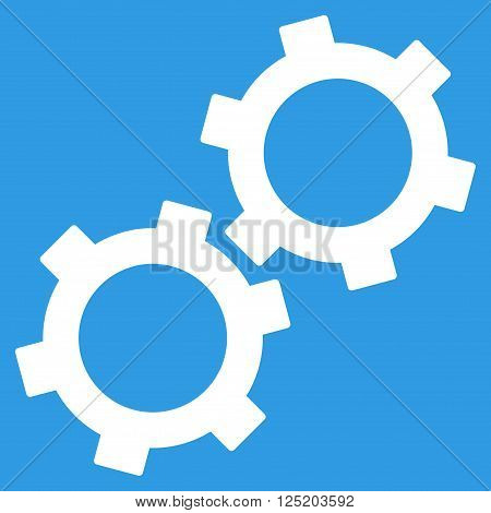 Gears vector icon. Gears icon symbol. Gears icon image. Gears icon picture. Gears pictogram. Flat white gears icon. Isolated gears icon graphic. Gears icon illustration.
