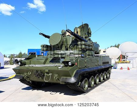 MOSCOW - JUNE 17:  Self-propelled ground-based combined short to medium range surface-to-air missile and anti-aircraft artillery weapon -  on June 17, 2015 in Moscow