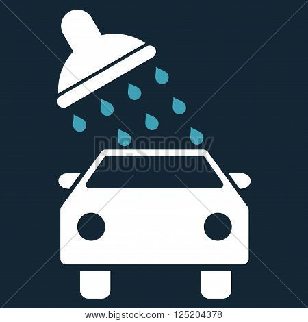 Car Wash vector icon. Car Wash icon symbol. Car Wash icon image. Car Wash icon picture. Car Wash pictogram. Flat blue and white car wash icon. Isolated car wash icon graphic.