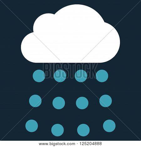 Rain Cloud vector icon. Rain Cloud icon symbol. Rain Cloud icon image. Rain Cloud icon picture. Rain Cloud pictogram. Flat blue and white rain cloud icon. Isolated rain cloud icon graphic.