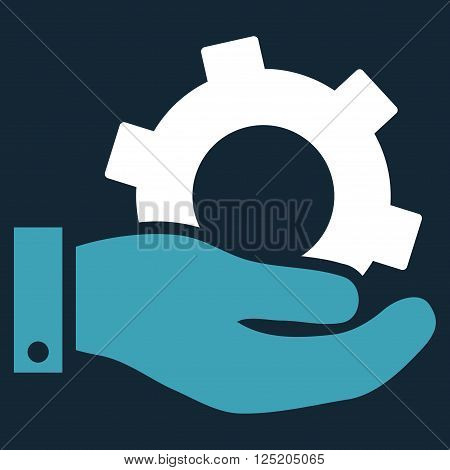 Service vector icon. Service icon symbol. Service icon image. Service icon picture. Service pictogram. Flat blue and white service icon. Isolated service icon graphic. Service icon illustration.