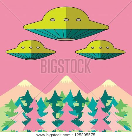UFO fly over the mountains and forest vector illustration