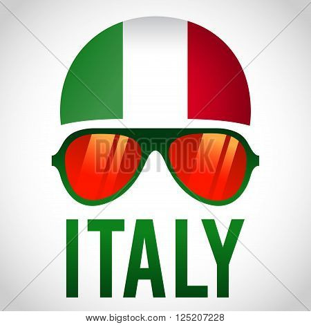 Head band and sunglasses with Italy insignia vector illustration