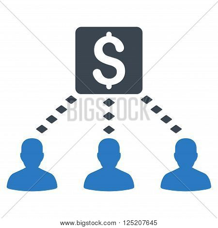 Money Recipients vector toolbar icon. Style is bicolor flat icon symbol, smooth blue colors, white background, rhombus dots.