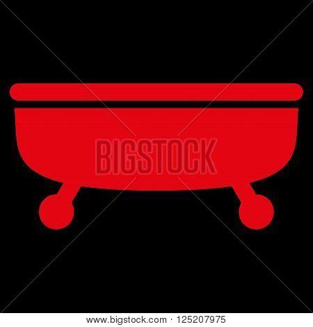 Bathtub vector icon. Bathtub icon symbol. Bathtub icon image. Bathtub icon picture. Bathtub pictogram. Flat red Bathtub icon. Isolated Bathtub icon graphic. Bathtub icon illustration.