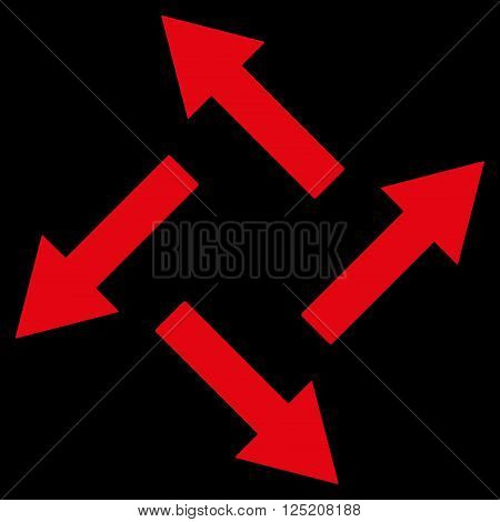 Centrifugal Arrows vector icon. Centrifugal Arrows icon symbol. Centrifugal Arrows icon image. Centrifugal Arrows icon picture. Centrifugal Arrows pictogram. Flat red centrifugal arrows icon.