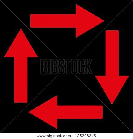 Circulation Arrows vector icon. Circulation Arrows icon symbol. Circulation Arrows icon image. Circulation Arrows icon picture. Circulation Arrows pictogram. Flat red circulation arrows icon.