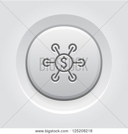 Investment Icon. Business Concept. Grey Button Design