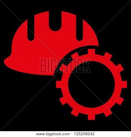 Development Hardhat vector icon. Development Hardhat icon symbol. Development Hardhat icon image. Development Hardhat icon picture. Development Hardhat pictogram. Flat red development hardhat icon.