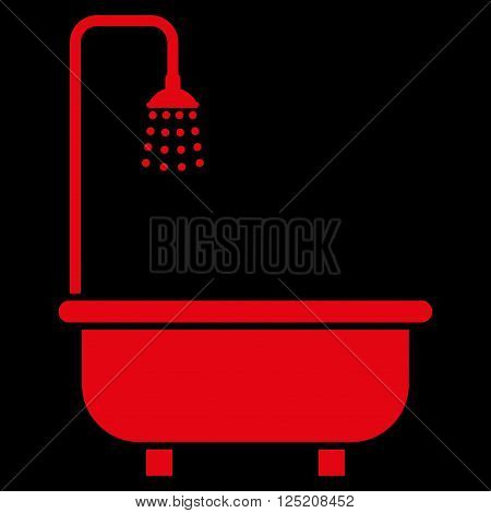 Shower Bath vector icon. Shower Bath icon symbol. Shower Bath icon image. Shower Bath icon picture. Shower Bath pictogram. Flat red shower bath icon. Isolated shower bath icon graphic.