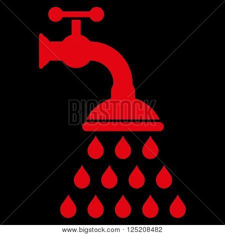 Shower Tap vector icon. Shower Tap icon symbol. Shower Tap icon image. Shower Tap icon picture. Shower Tap pictogram. Flat red shower tap icon. Isolated shower tap icon graphic.