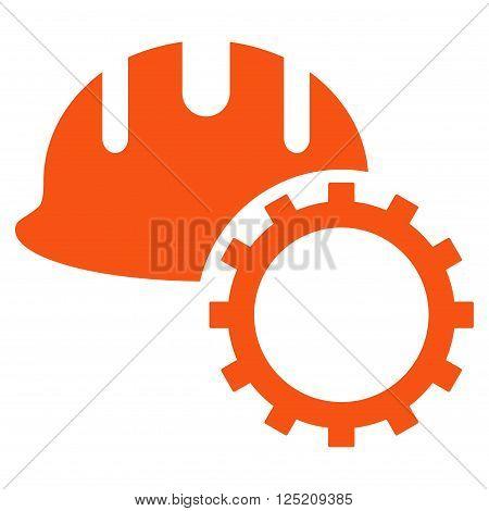 Development Hardhat vector icon. Development Hardhat icon symbol. Development Hardhat icon image. Development Hardhat icon picture. Development Hardhat pictogram. Flat orange development hardhat icon.