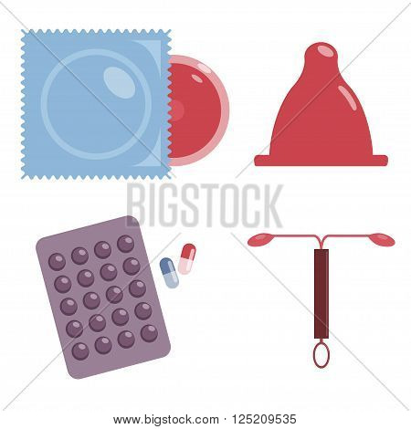 Contraception. Safe sex. Contraceptives. Vector icon set. Different types of contraception. Condoms, contraceptive pills and IUDs. Flat design