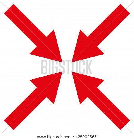 Center Arrows vector icon. Center Arrows icon symbol. Center Arrows icon image. Center Arrows icon picture. Center Arrows pictogram. Flat red center arrows icon. Isolated center arrows icon graphic.