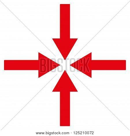 Impact Arrows vector icon. Impact Arrows icon symbol. Impact Arrows icon image. Impact Arrows icon picture. Impact Arrows pictogram. Flat red impact arrows icon. Isolated impact arrows icon graphic.