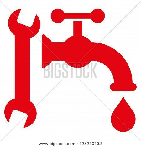Plumbing vector icon. Plumbing icon symbol. Plumbing icon image. Plumbing icon picture. Plumbing pictogram. Flat red plumbing icon. Isolated plumbing icon graphic. Plumbing icon illustration.