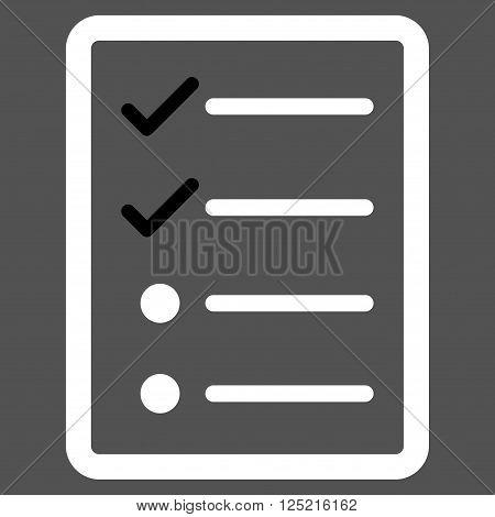 Checklist Page vector icon. Checklist Page icon symbol. Checklist Page icon image. Checklist Page icon picture. Checklist Page pictogram. Flat black and white checklist page icon.