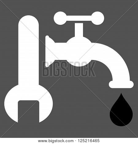 Plumbing vector icon. Plumbing icon symbol. Plumbing icon image. Plumbing icon picture. Plumbing pictogram. Flat black and white plumbing icon. Isolated plumbing icon graphic.