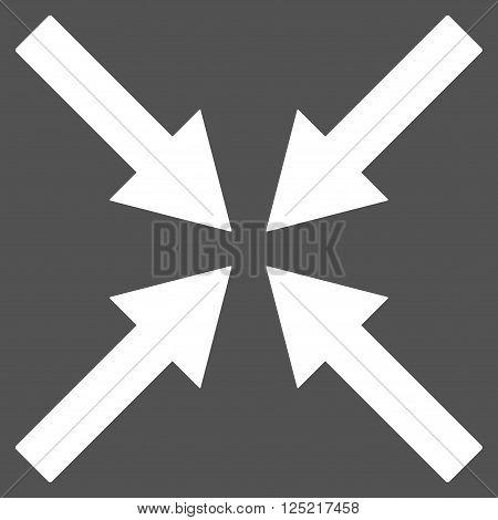Center Arrows vector icon. Center Arrows icon symbol. Center Arrows icon image. Center Arrows icon picture. Center Arrows pictogram. Flat white center arrows icon. Isolated center arrows icon graphic.