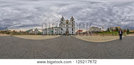 MINSK, BELARUS - APRIL 08, 2016: 360 Degree Spherical Panorama of Holy Spirit Cathedral, Main Landmark of Minsk, The Capital of Belarus