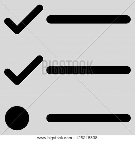 Checklist vector icon. Checklist icon symbol. Checklist icon image. Checklist icon picture. Checklist pictogram. Flat black checklist icon. Isolated checklist icon graphic.